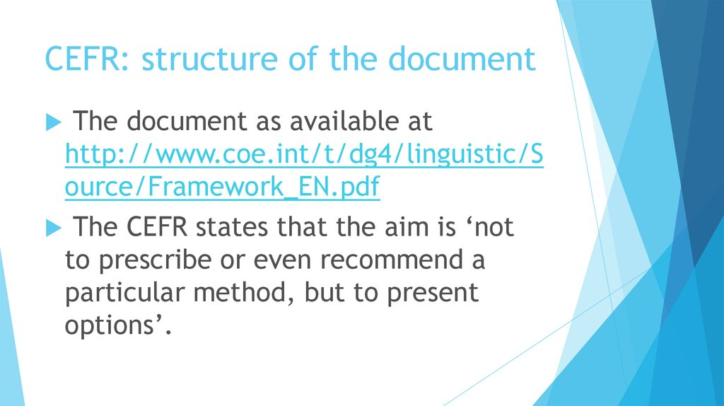 CEFR: structure of the document