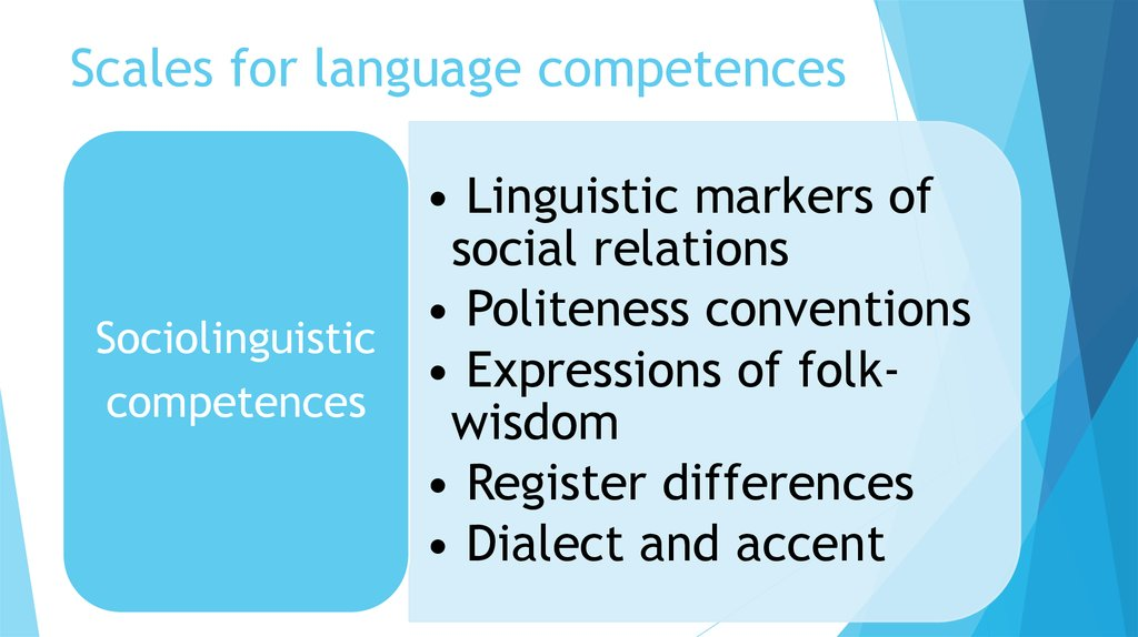 Scales for language competences