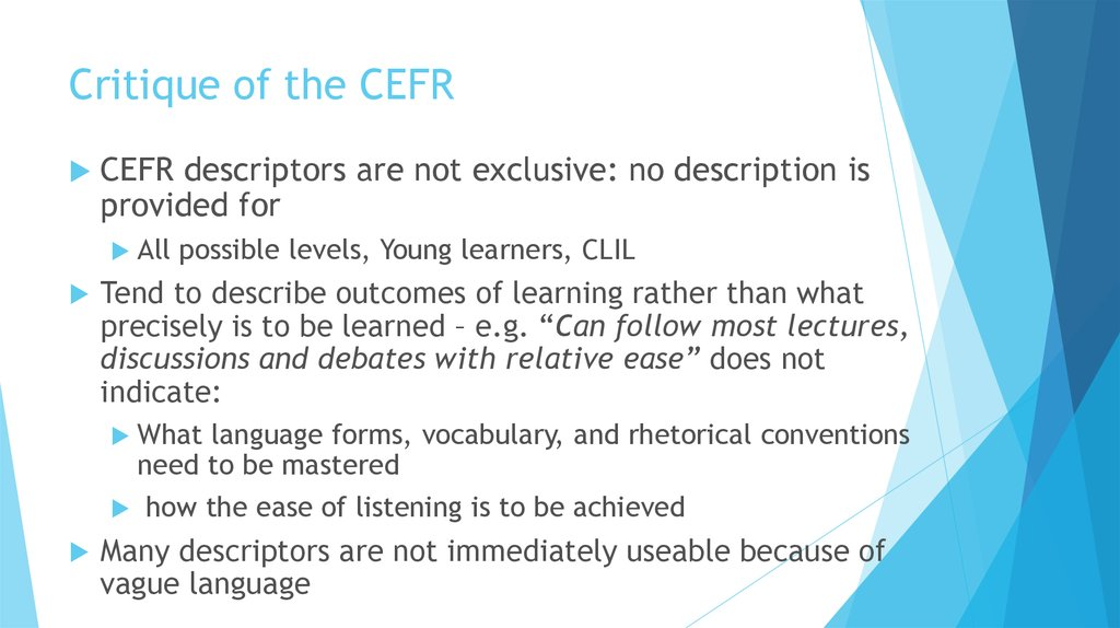 Critique of the CEFR