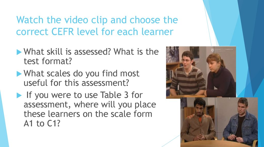 Watch the video clip and choose the correct CEFR level for each learner