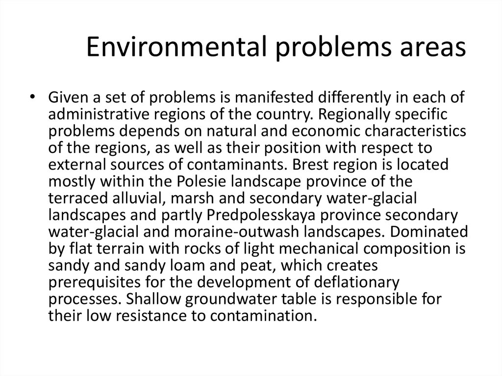 Environmental problems areas