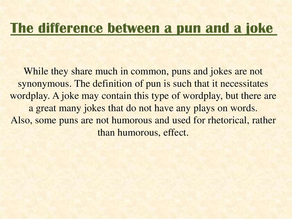 Pun as a stylistic device - online presentation
