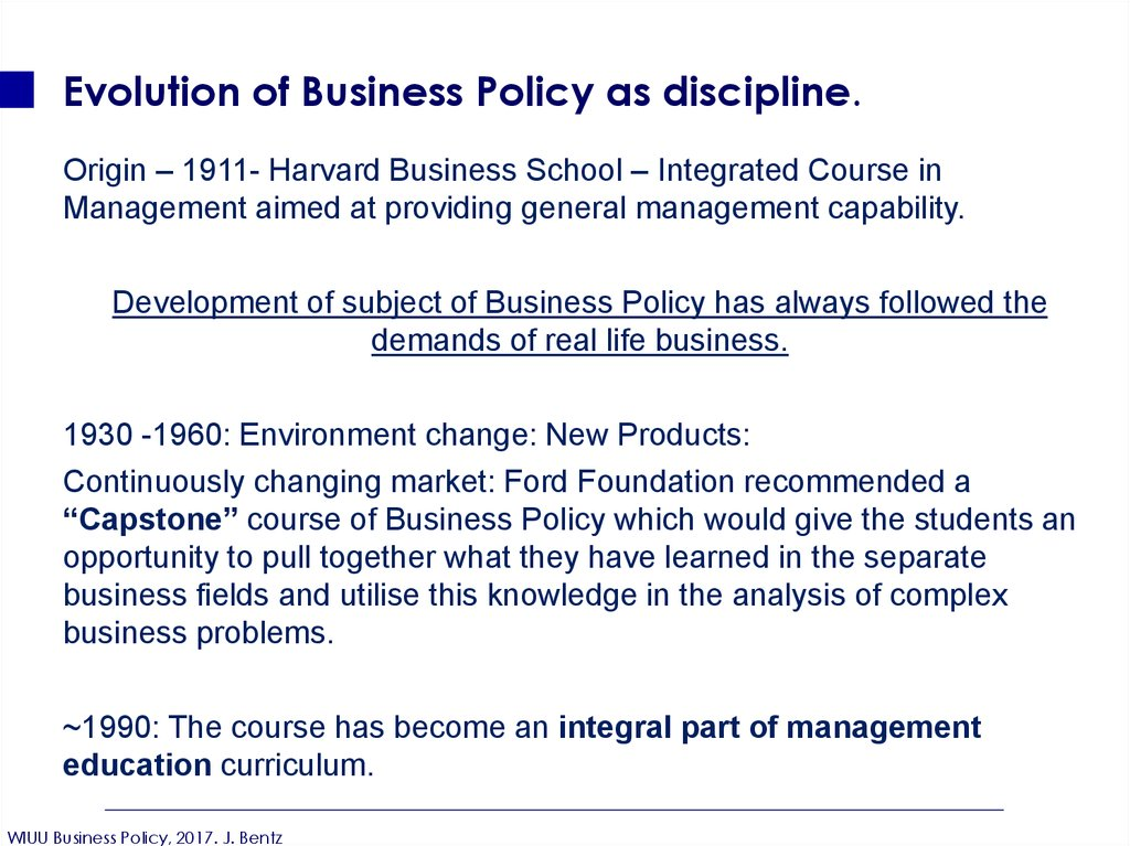 Evolution of Business Policy as discipline.