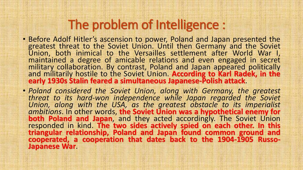 The problem of Intelligence :