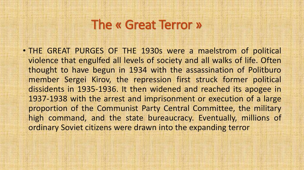 The « Great Terror »