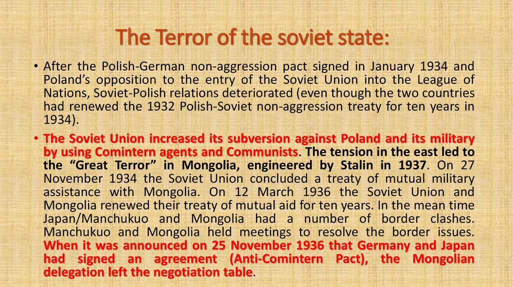 The Terror of the soviet state: