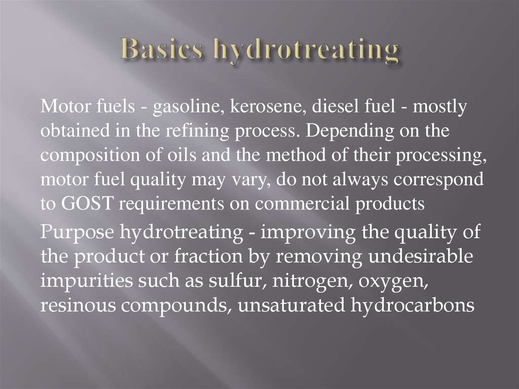 Basics hydrotreating