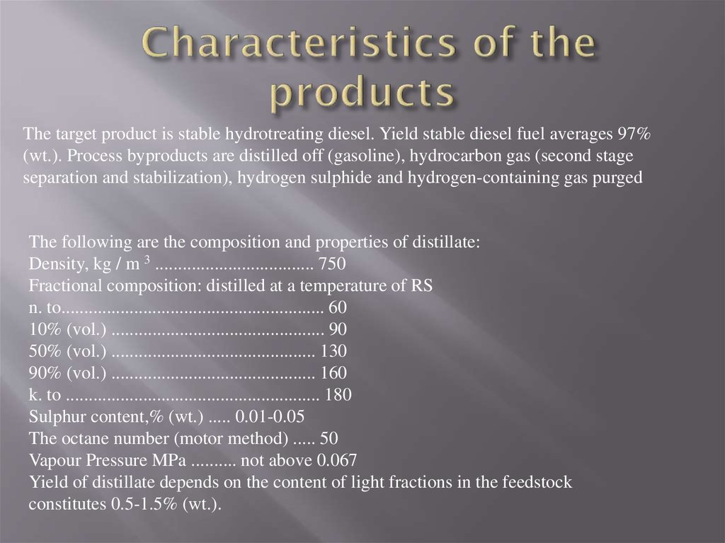 Characteristics of the products