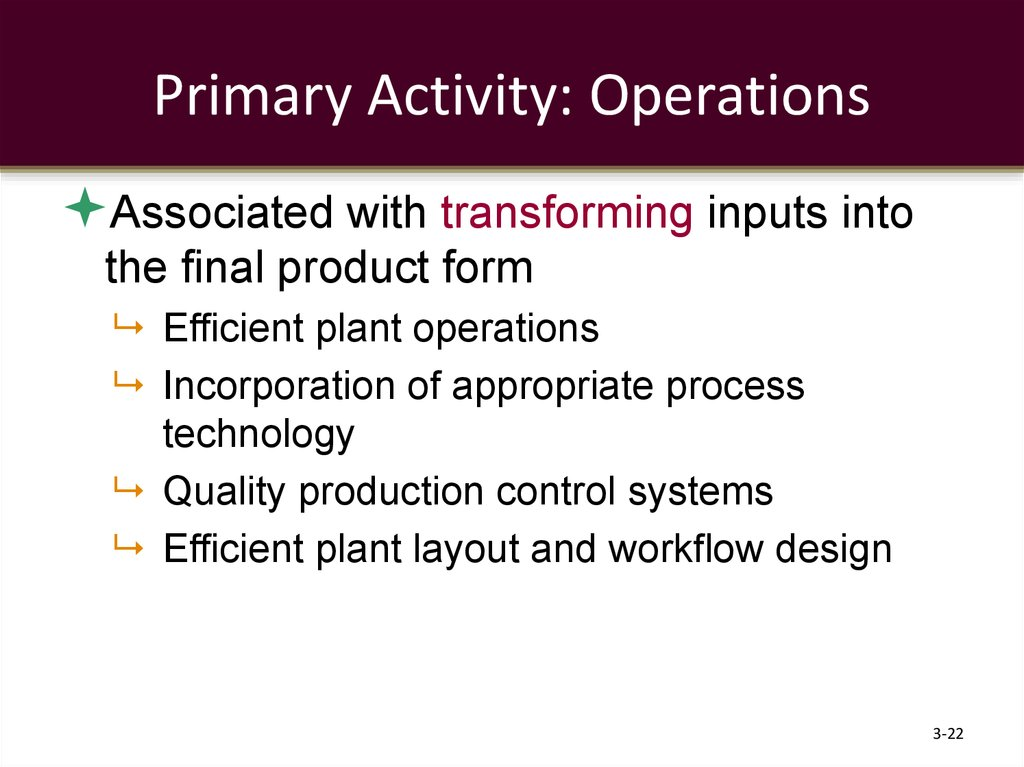 Primary Activity: Operations