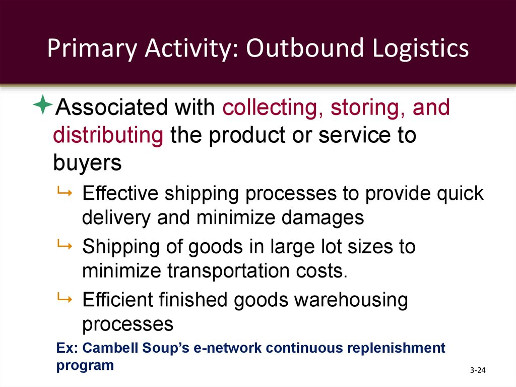 Primary Activity: Outbound Logistics