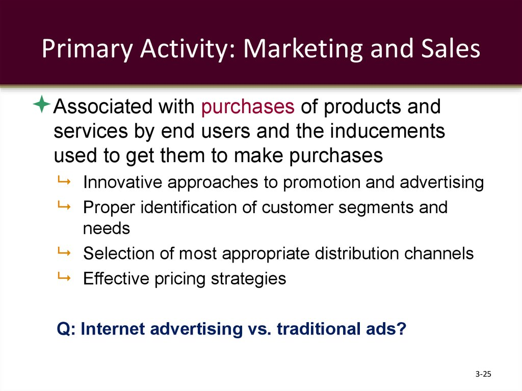 Primary Activity: Marketing and Sales