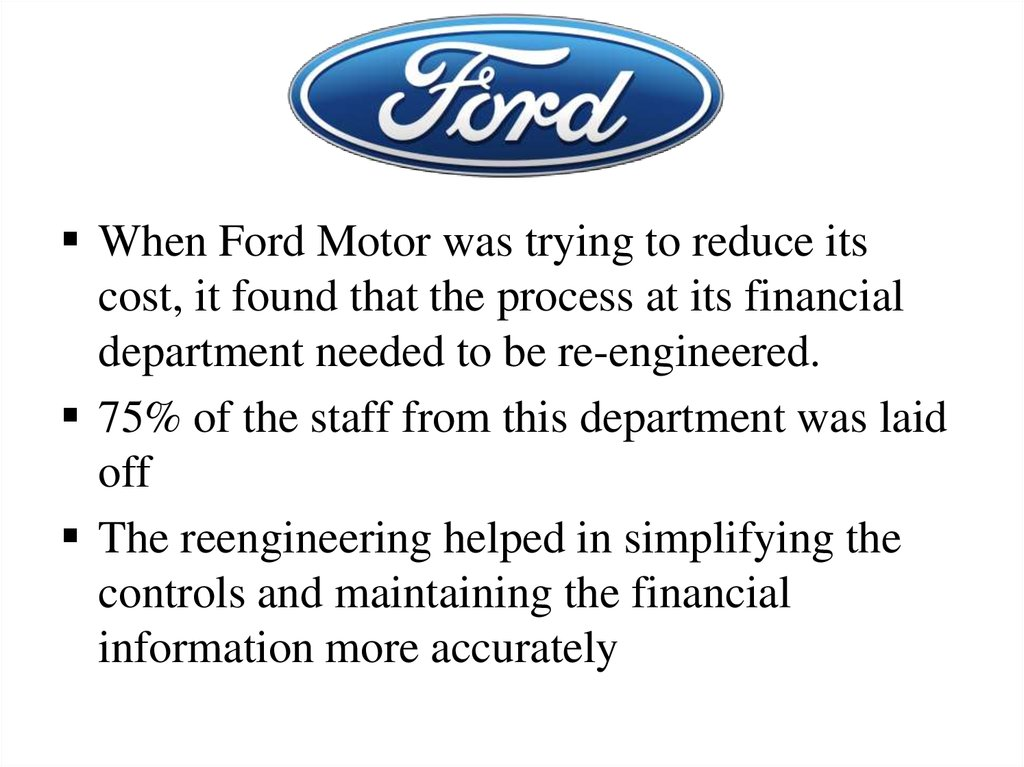 Organizational structure of ford motor company for The ford motor company