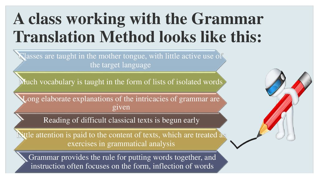 A class working with the Grammar Translation Method looks like this: