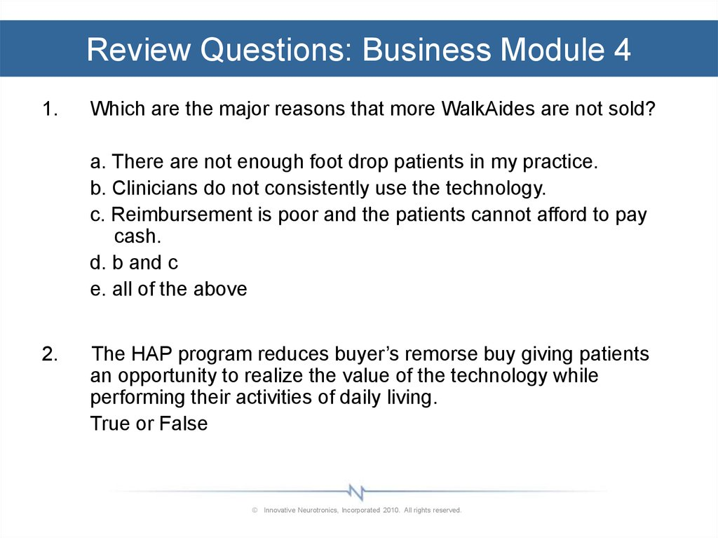 Review Questions: Business Module 4