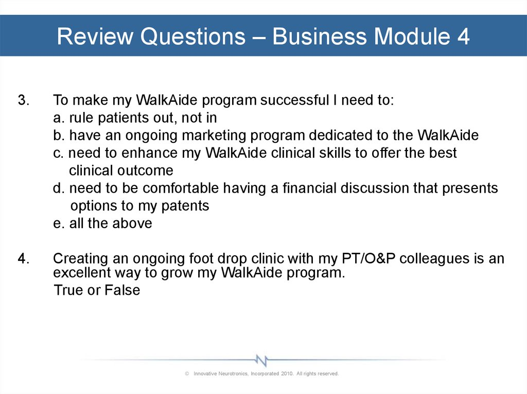 Review Questions – Business Module 4