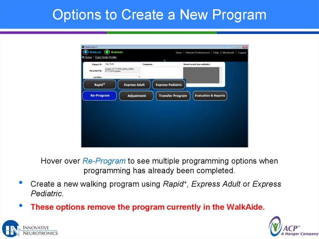 Options to Create a New Program