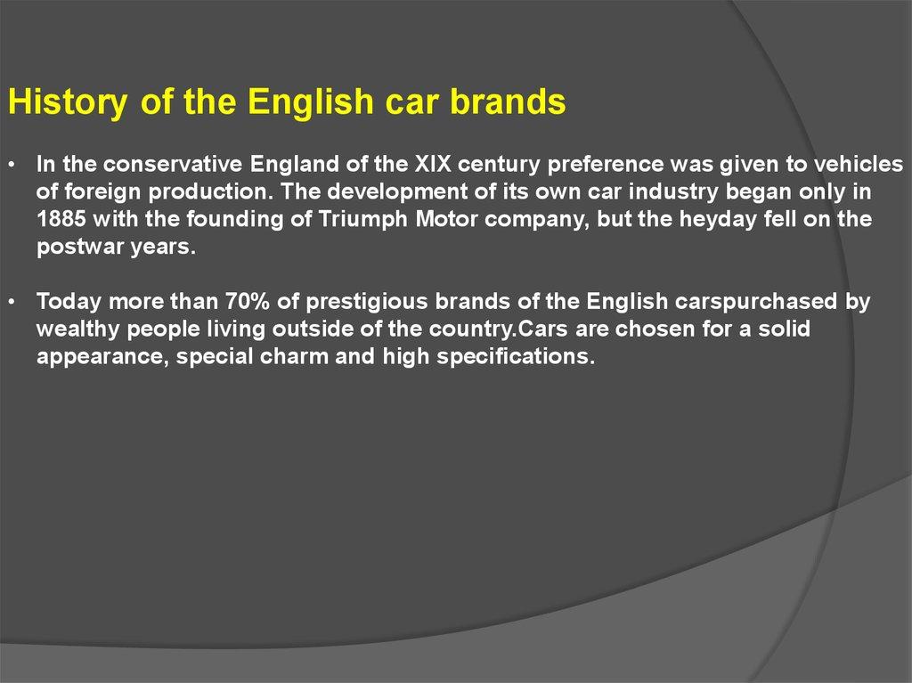 Cars Of English Origin Online Presentation