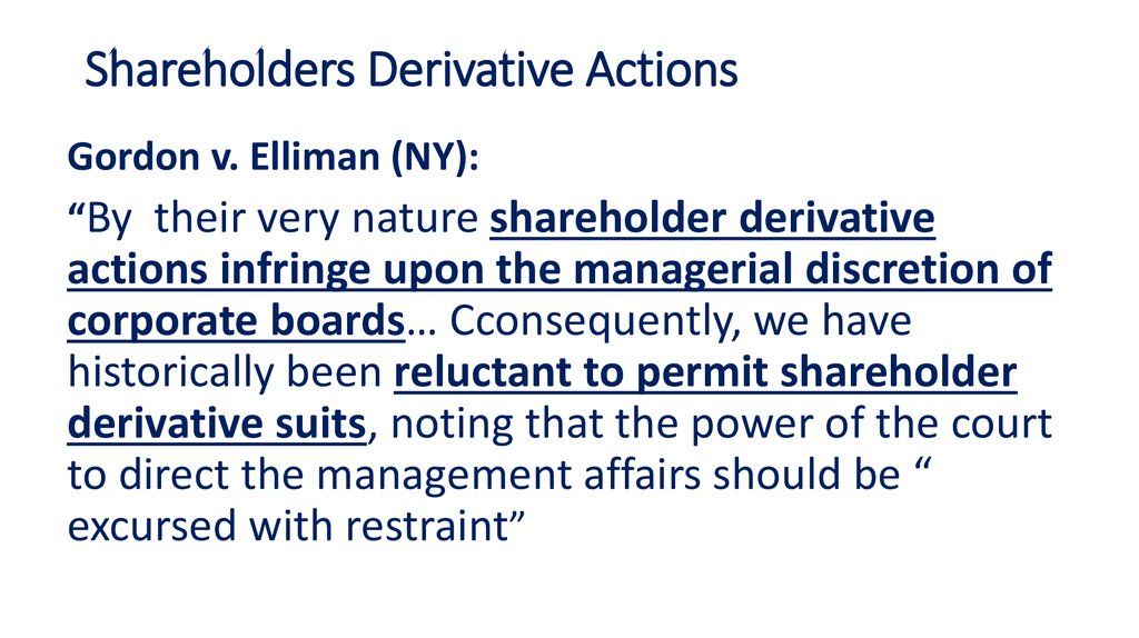 Shareholders Derivative Actions
