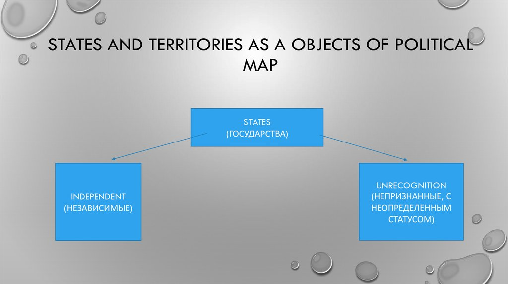 States and territories as a objects of political map