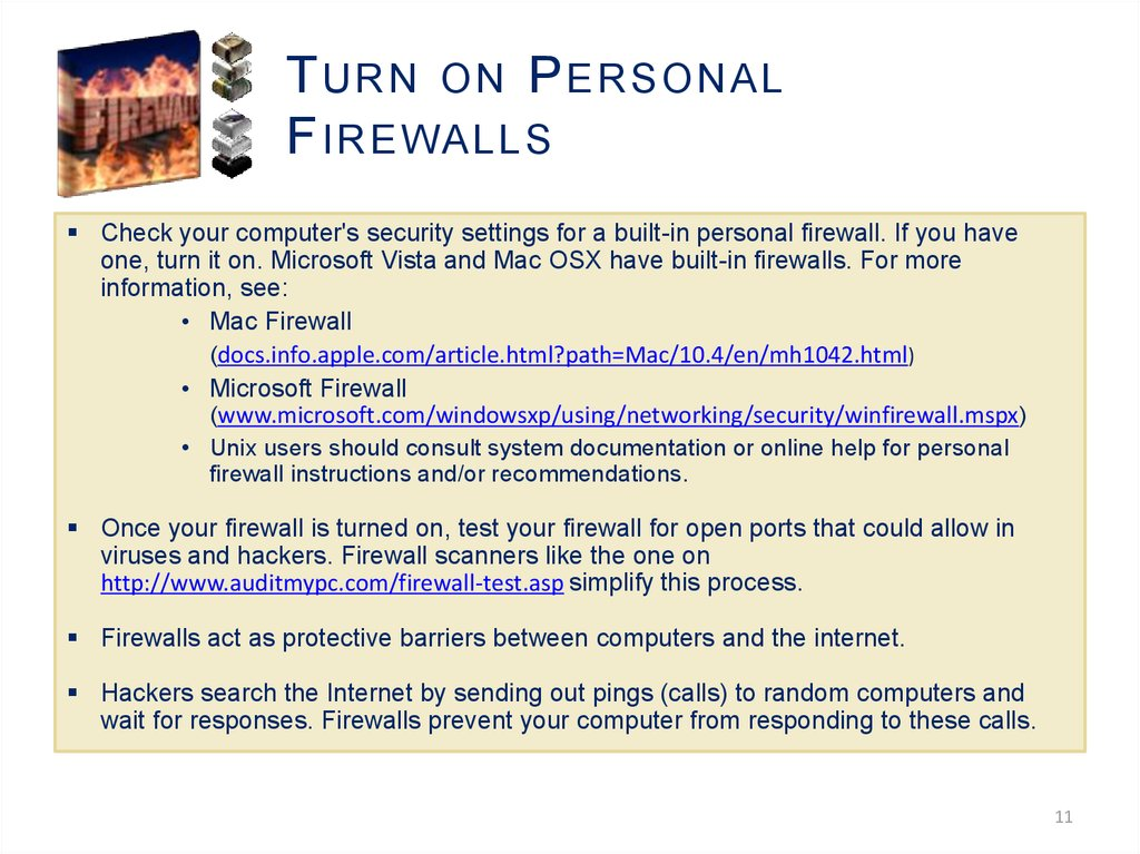 Turn on Personal Firewalls