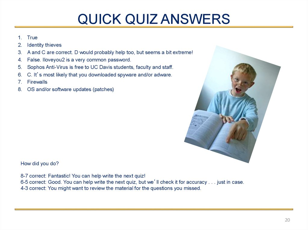 QUICK QUIZ ANSWERS