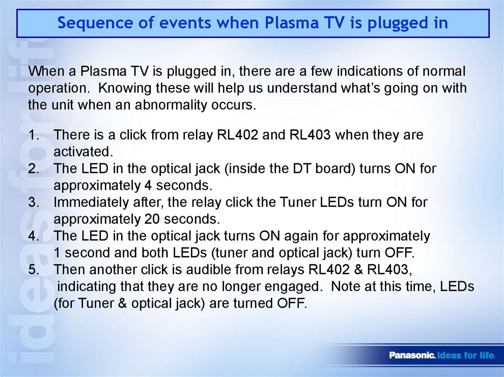 Sequence of events when Plasma TV is plugged in