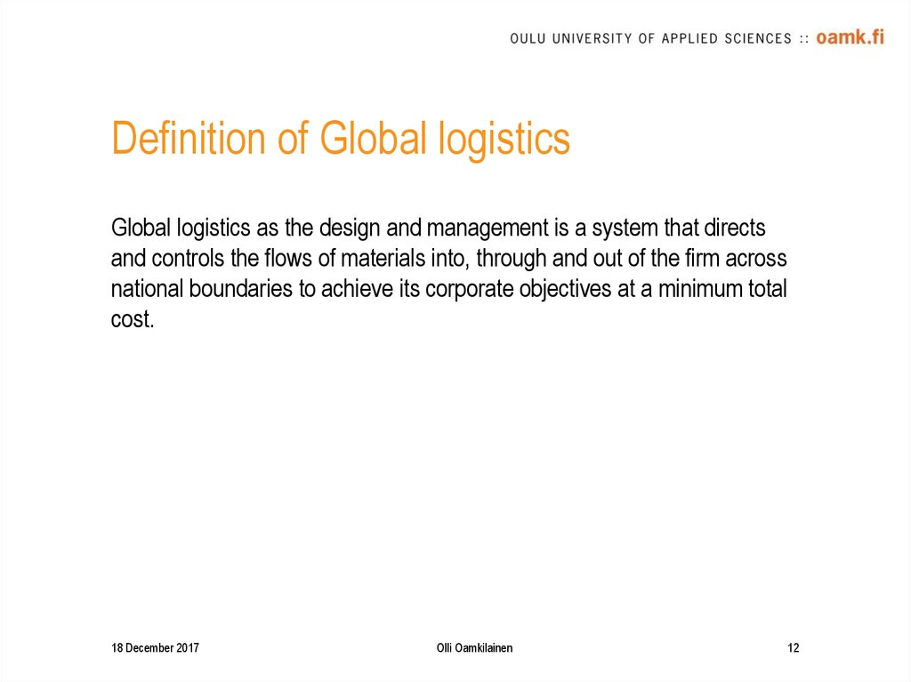 Definition of Global logistics