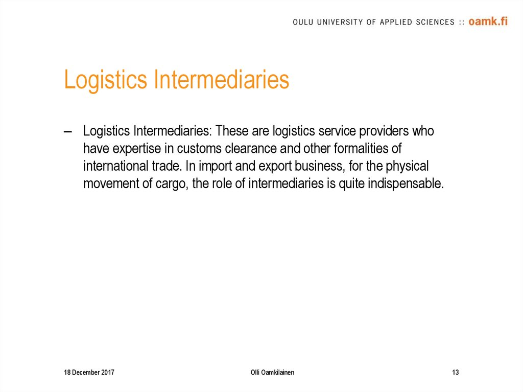 Logistics Intermediaries