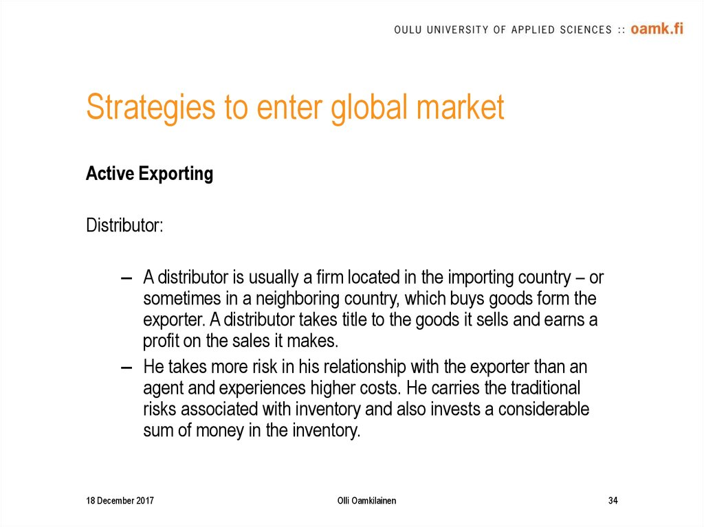 Strategies to enter global market
