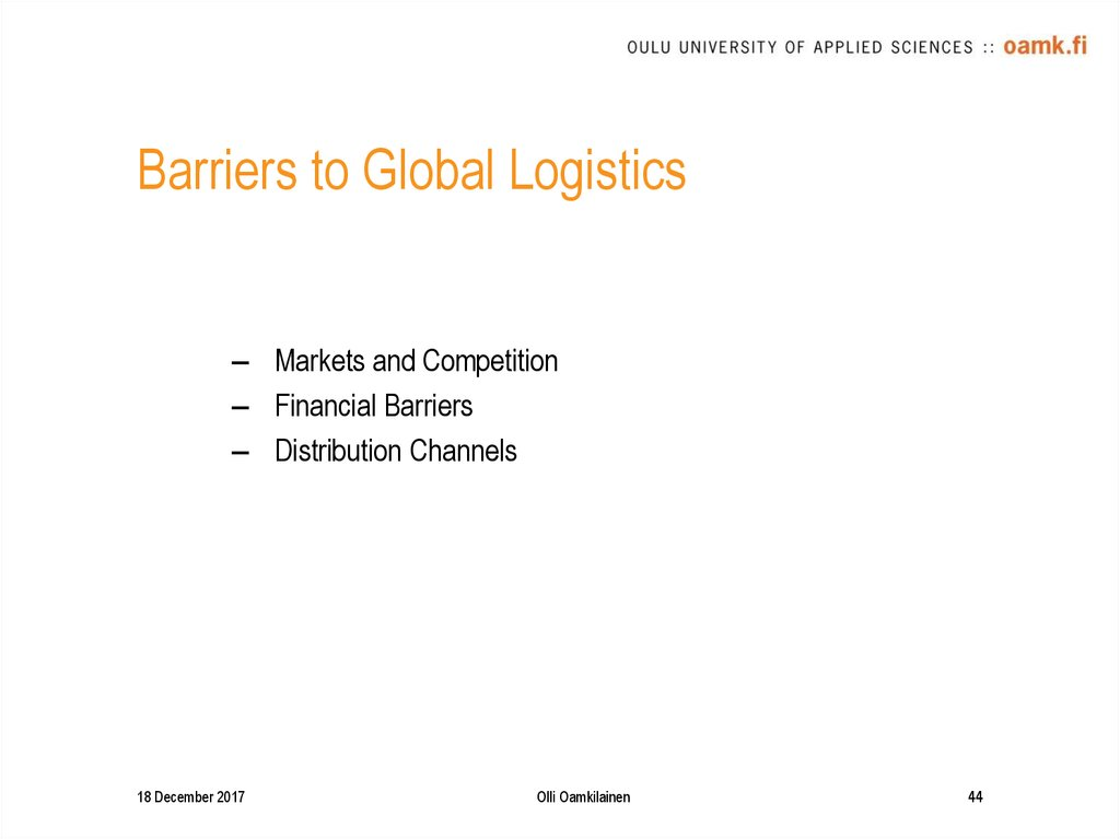 Barriers to Global Logistics