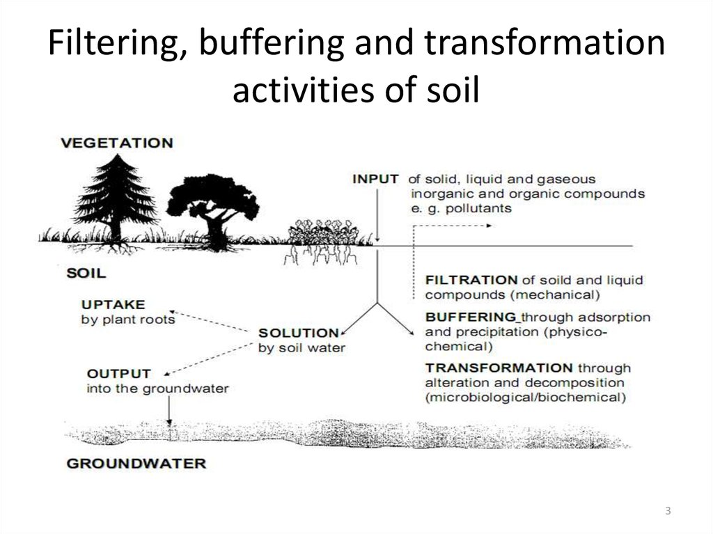 Filtering, buffering and transformation activities of soil
