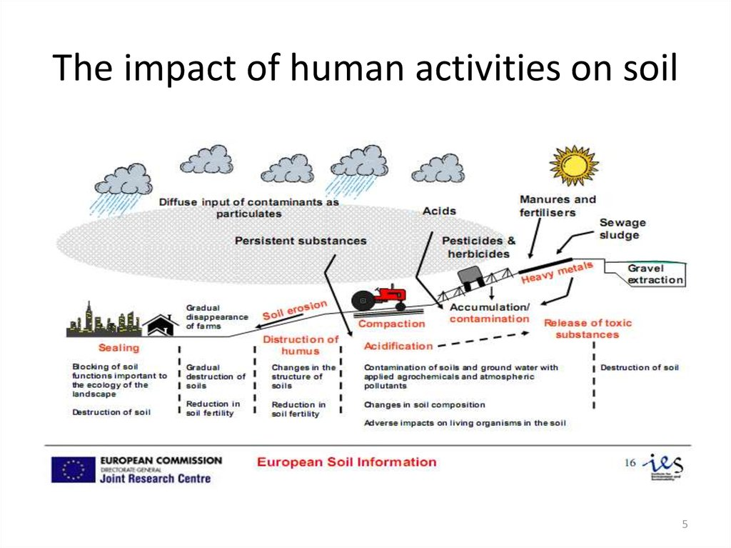 The impact of human activities on soil