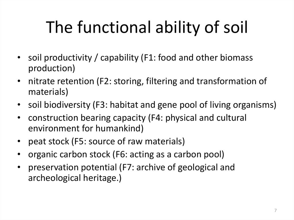 The functional ability of soil