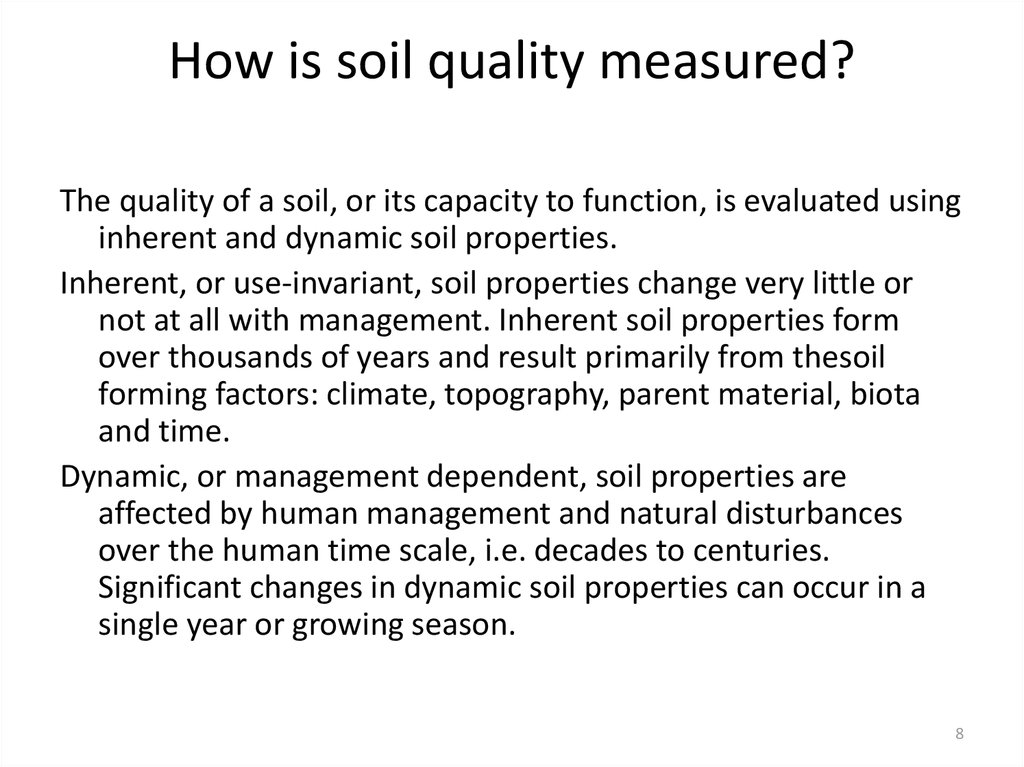 How is soil quality measured?