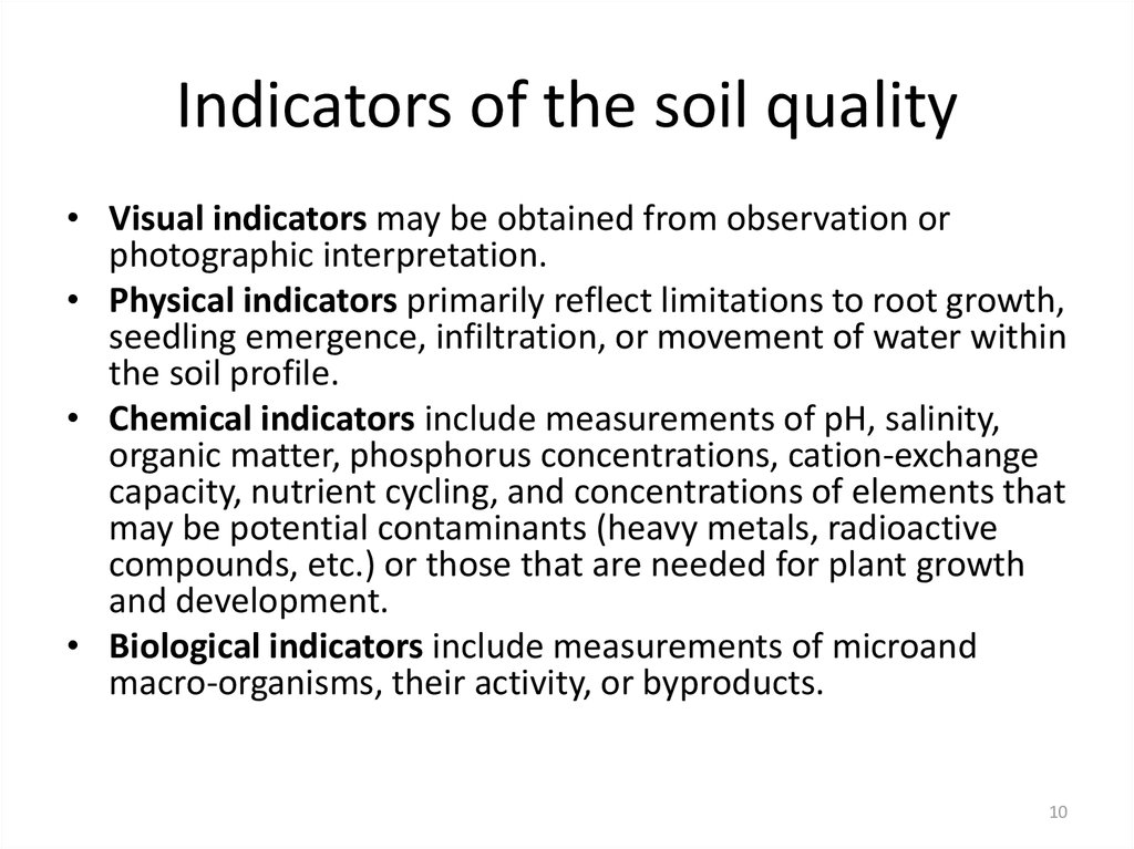 Indicators of the soil quality