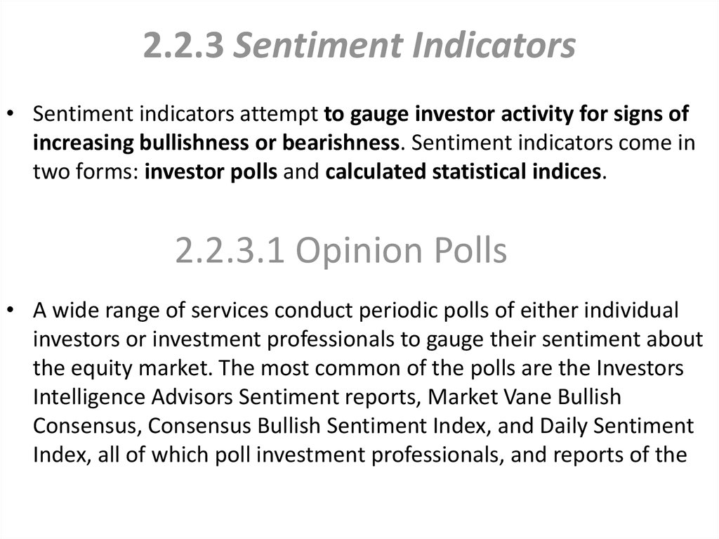 2.2.3 Sentiment Indicators