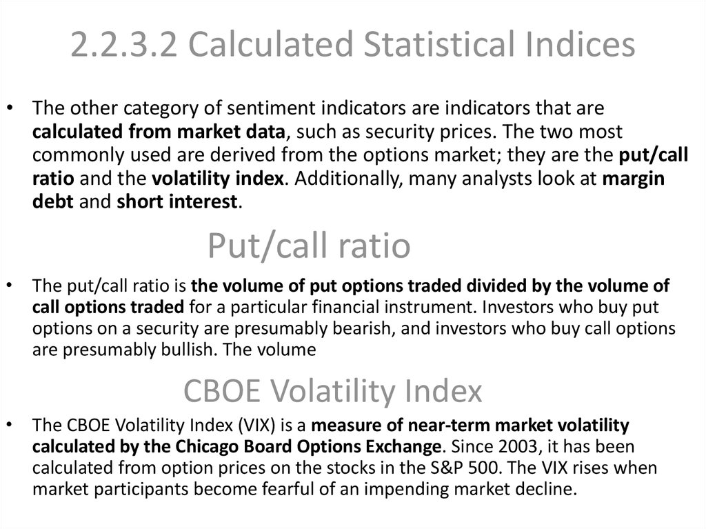 2.2.3.2 Calculated Statistical Indices