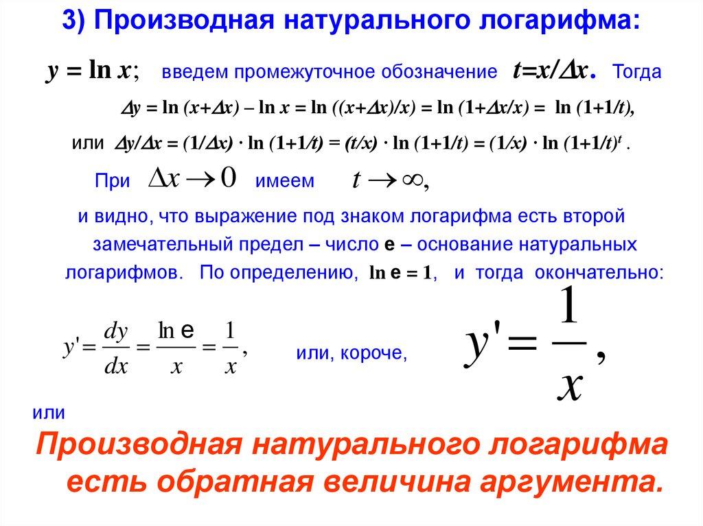 Производная натурального логарифма ln x равна