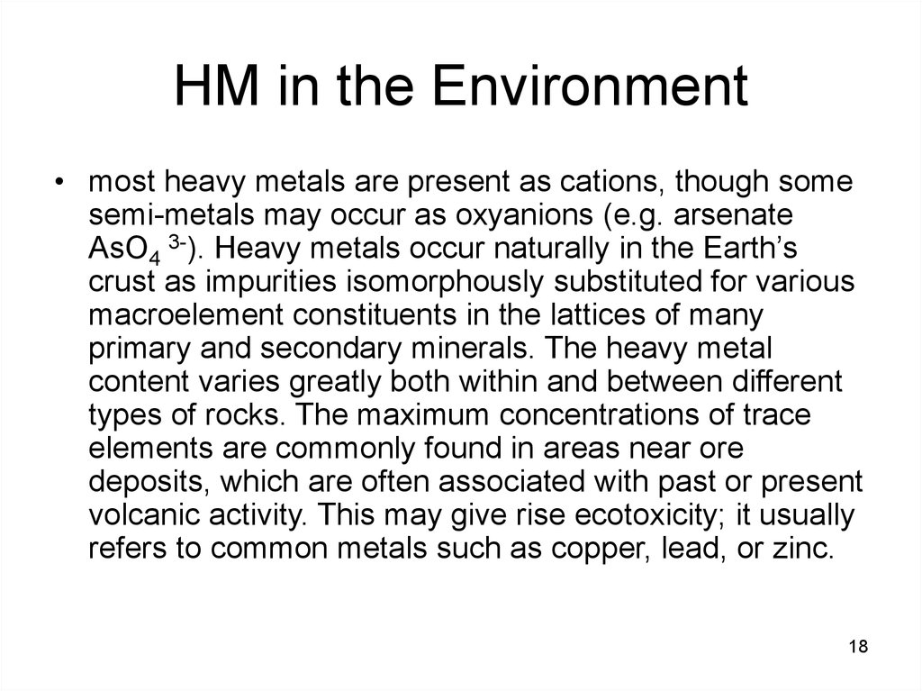 HM in the Environment