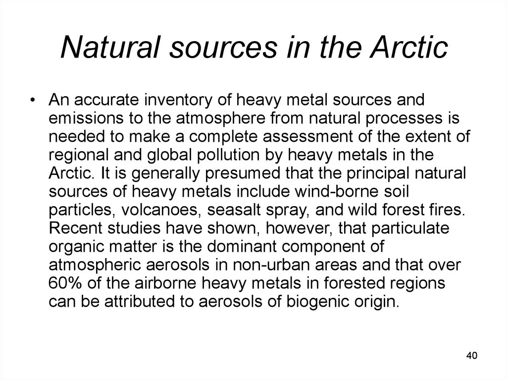 Natural sources in the Arctic