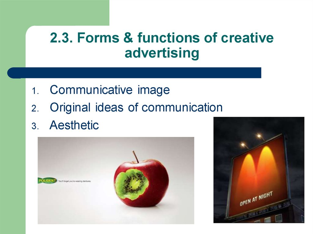 2.3. Forms & functions of creative advertising