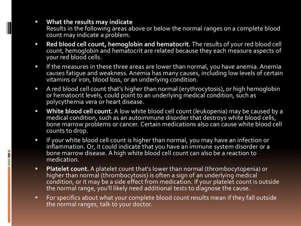 Complete blood count (CBC) - презентация онлайн
