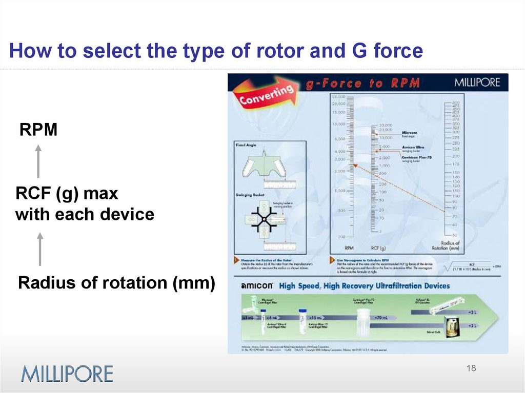 How to select the type of rotor and G force