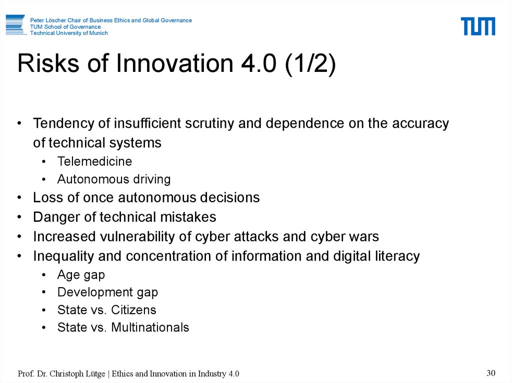 Risks of Innovation 4.0 (1/2)