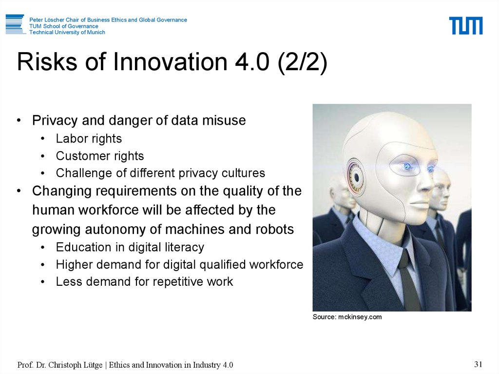 Risks of Innovation 4.0 (2/2)