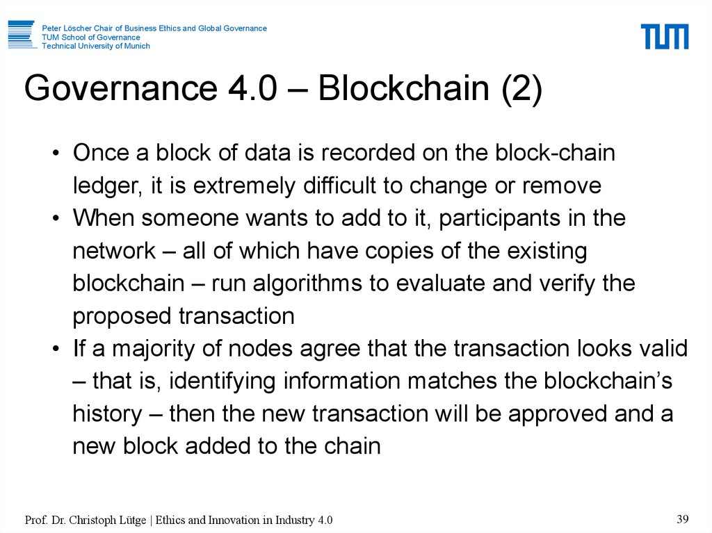Governance 4.0 – Blockchain (2)