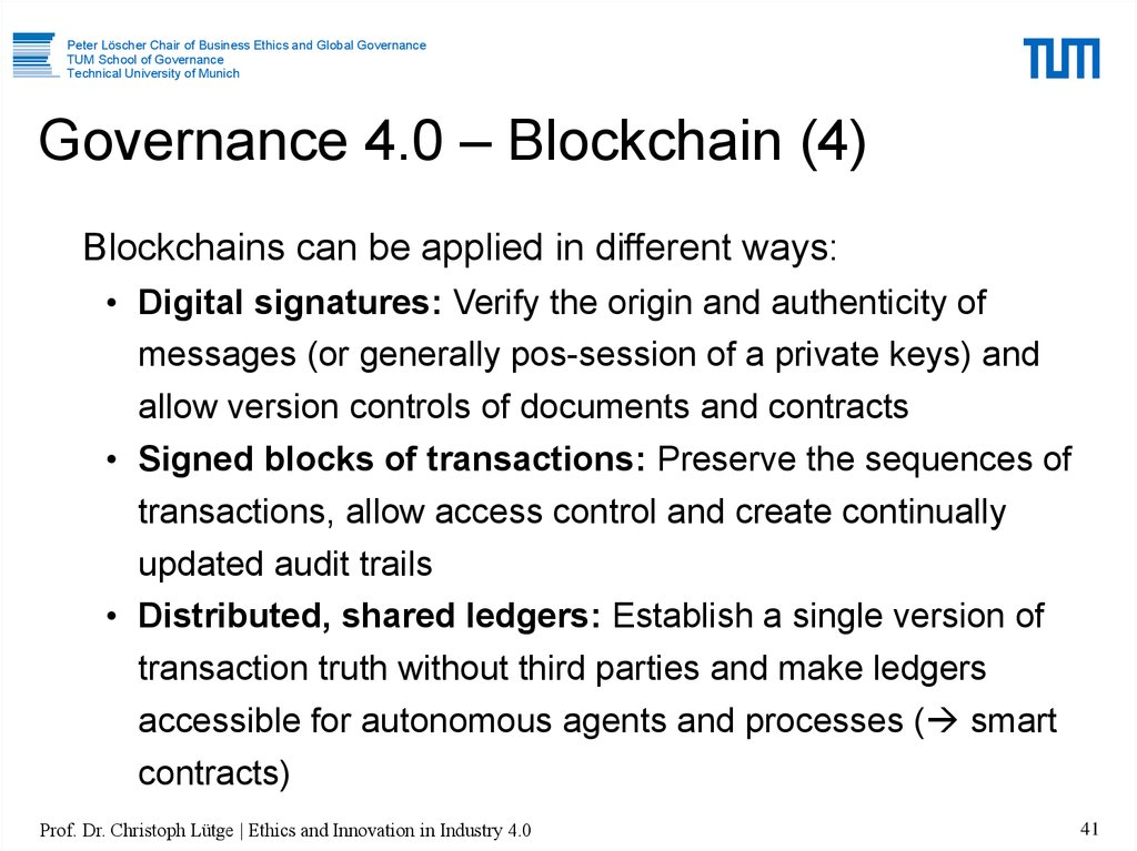 Governance 4.0 – Blockchain (4)