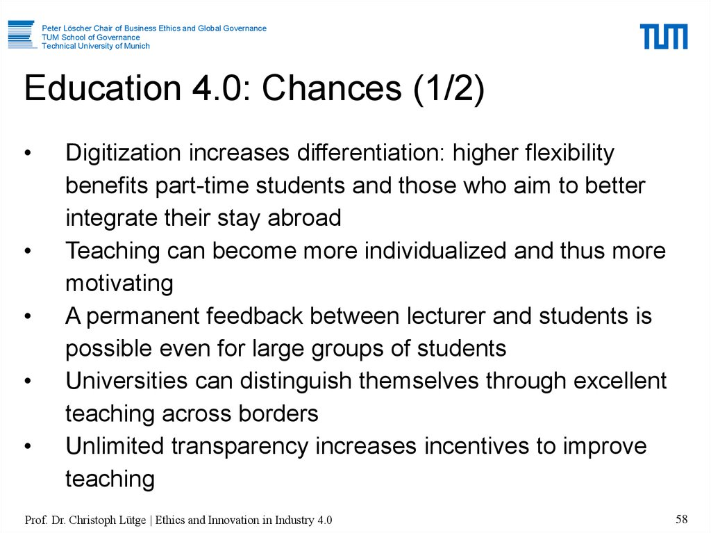 Education 4.0: Chances (1/2)