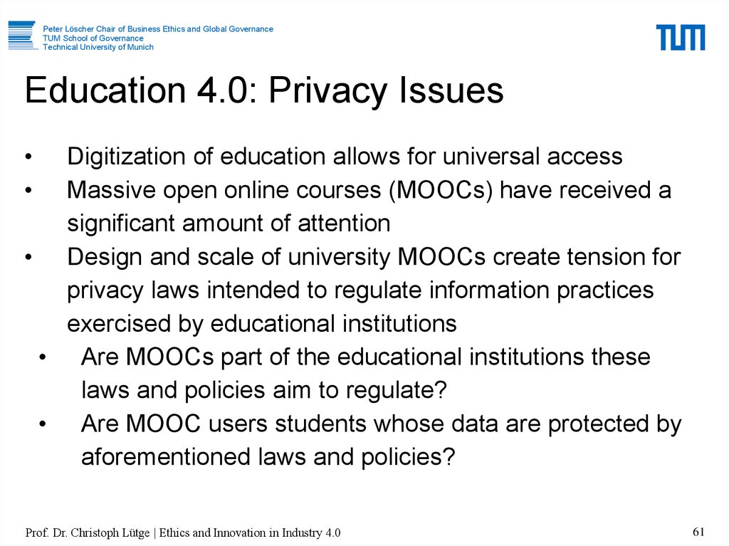 Education 4.0: Privacy Issues