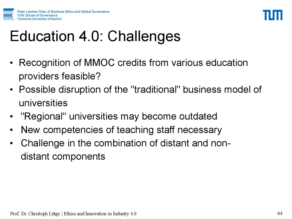 Education 4.0: Challenges